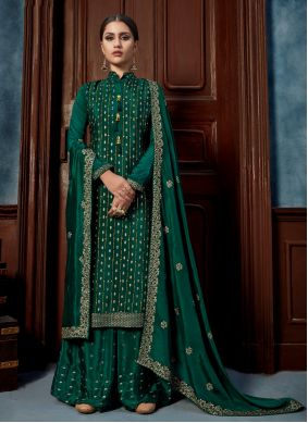 Sea Green Chinon Designer Palazzo Salwar Suit