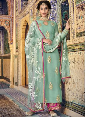 Sea Green Color Designer Palazzo Suit