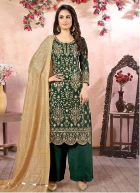 Sea Green Color Trendy Palazzo Salwar Kameez