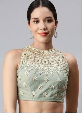 Sea Green Embroidered Designer Blouse