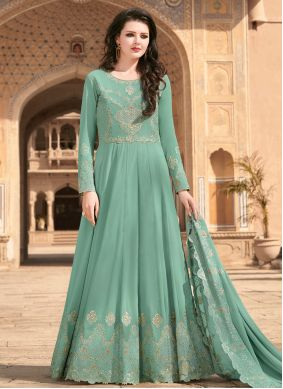 Sea Green Embroidered Faux Georgette Floor Length Designer Suit