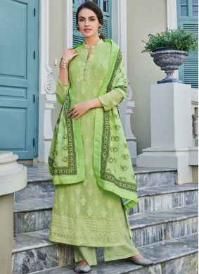 Sea Green Embroidered Faux Georgette Trendy Palazzo Salwar Suit