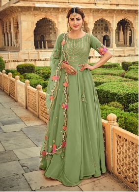 Sea Green Embroidered Festival Trendy Salwar Suit