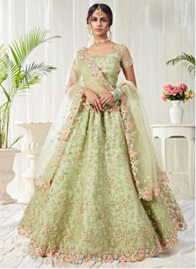 Sea Green Embroidered Lehenga Choli