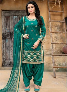 Sea Green Embroidered Punjabi Suit