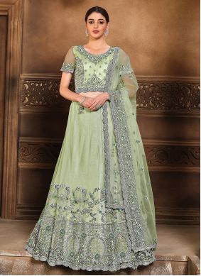 Sea Green Engagement Lehenga Choli