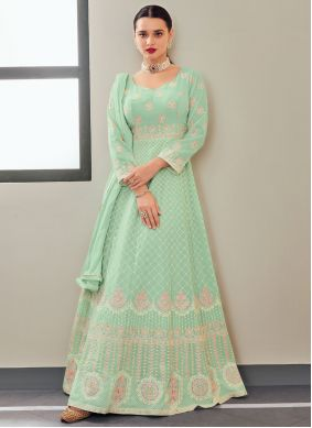 Sea Green Faux Georgette Embroidered Floor Length Anarkali Suit