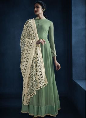 Sea Green Faux Georgette Resham Floor Length Anarkali Suit