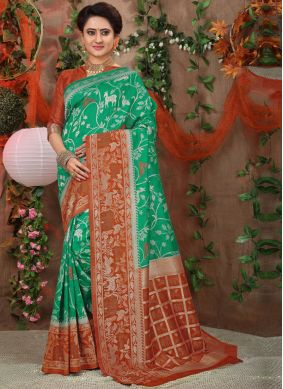Sea Green Festival Traditional Designer Saree