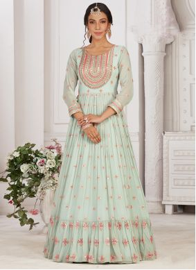 Sea Green Georgette Embroidered Readymade Anarkali Suit
