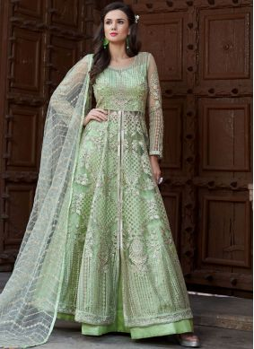 Sea Green Long Choli Lehenga