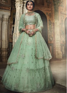 Sea Green Net Sangeet Designer Lehenga Choli