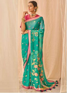 Sea Green Patch Border Designer Traditional Saree