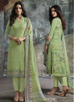 Sea Green Print Faux Georgette Pant Style Suit