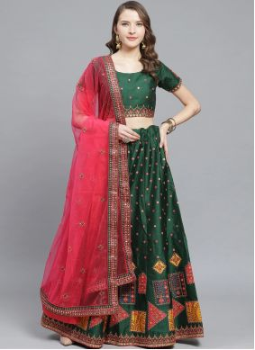 Sea Green Reception Silk Trendy Lehenga Choli