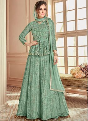 Sea Green Resham Net Long Choli Lehenga