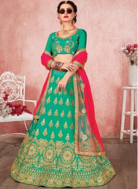 Sea Green Satin Silk Mehndi Trendy A Line Lehenga Choli