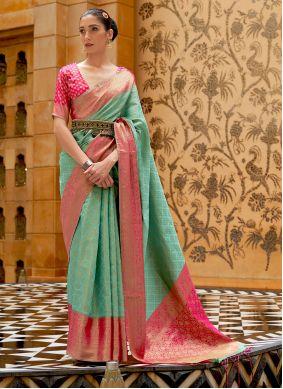 Sea Green Silk Festival Traditional Saree