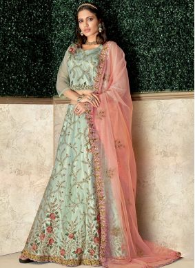 Sea Green Tafeta Silk Wedding Lehenga Choli