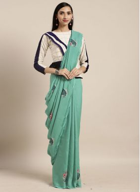 Sea Green Thread Casual Saree