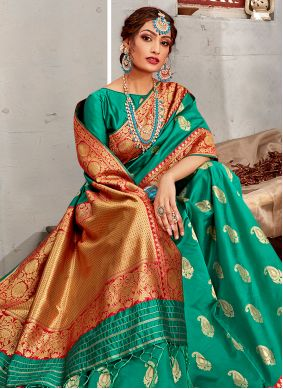 Sea Green Weaving Festival Traditional Designer Saree