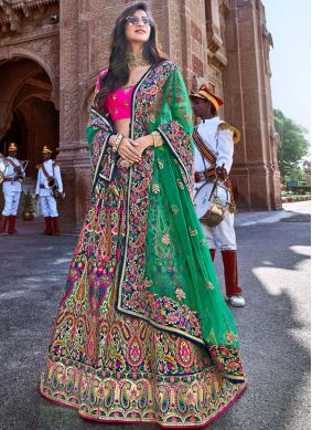 Sensational Embroidered Multi Colour Trendy Lehenga Choli