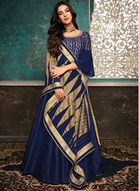 Sensational Embroidered Silk Designer Salwar Suit