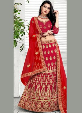 Sensational Velvet Embroidered Red Lehenga Choli