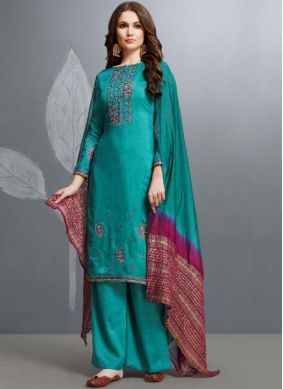 Sensible Embroidered Cotton Teal Palazzo Designer Suit