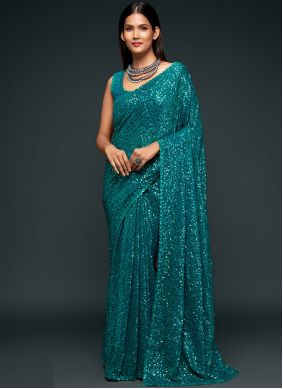 Sequins Faux Georgette Trendy Saree in Rama