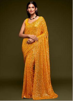 Yellow Sequins Festival Trendy Saree