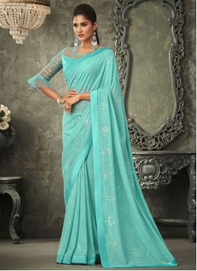 Sequins Georgette Contemporary Saree in Turquoise