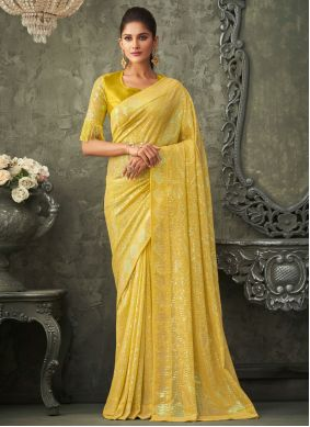 Sequins Georgette Yellow Traditional Saree