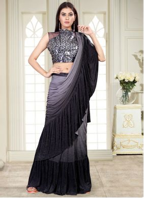 Sequins Work Lycra Shaded Saree in Grey