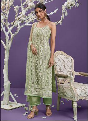 Green Sequins Net Designer Straight Suit