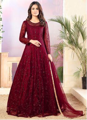 Maroon Sequins Net Trendy Salwar Suit