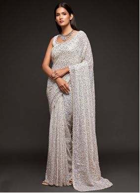 Sequins Off White Faux Georgette Trendy Saree