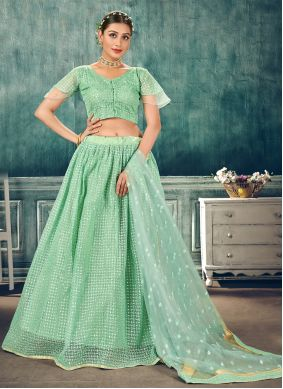 Sequins Sea Green Net Lehenga Choli