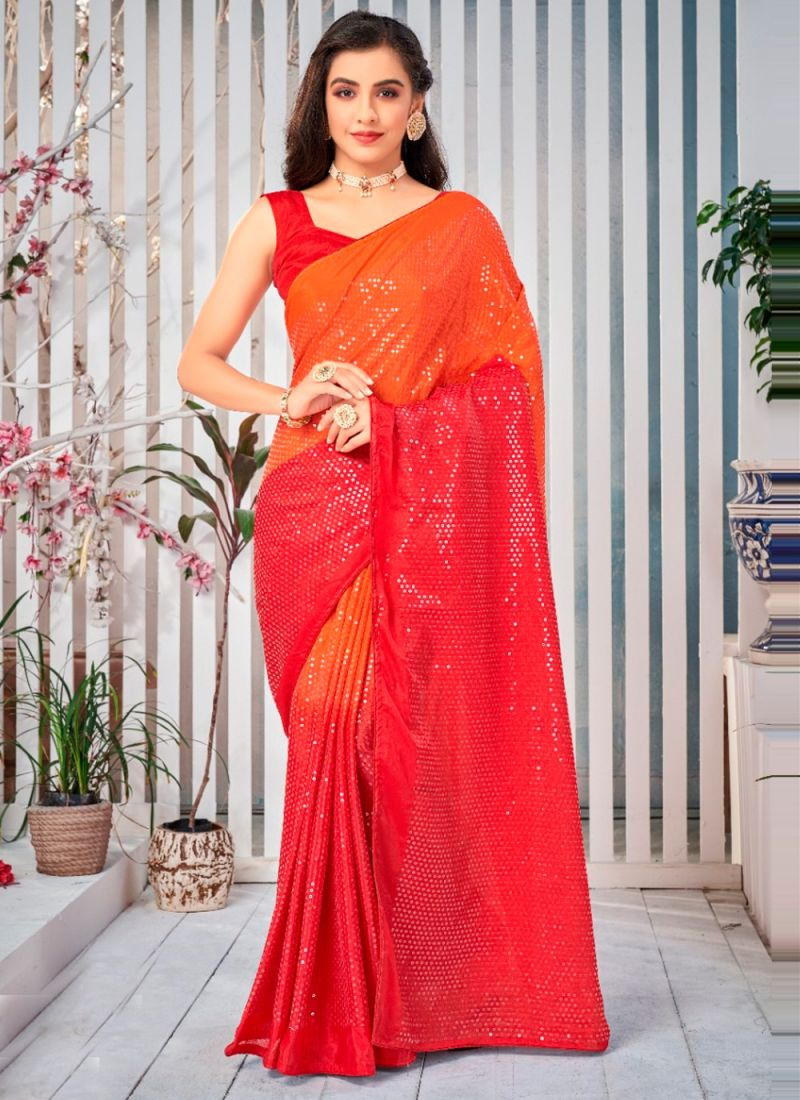 Orange And Red Sequins Work Shaded Saree