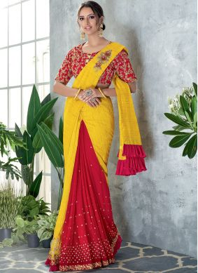 Sequins Silk Classic Designer Saree in Red and Yellow