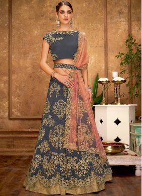 Sequins Tafeta Silk Trendy Lehenga Choli in Grey