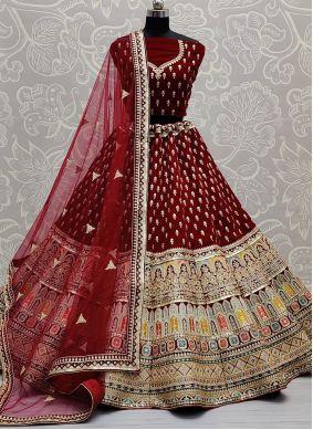 Sequins Velvet Lehenga Choli in Maroon