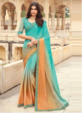 Shaded Saree Embroidered Silk in Peach and Sea Green