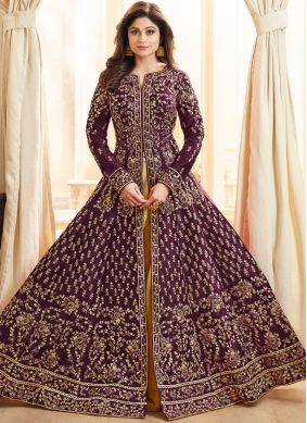 Shamita Shetty Art Silk Purple Long Choli Lehenga