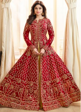 Shamita Shetty Art Silk Resham Long Choli Lehenga
