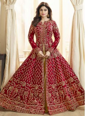 Shamita Shetty Art Silk Zari Floor Length Anarkali Suit
