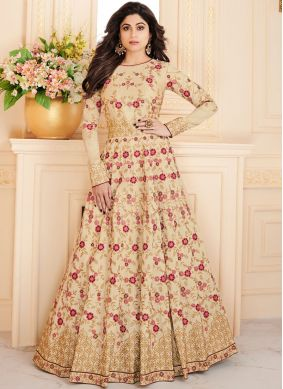 Shamita Shetty Beige Malbari Silk  Floor Length Anarkali Suit