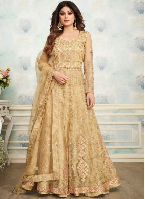 Shamita Shetty Cream Embroidered Designer Kameez Style Lehenga Choli