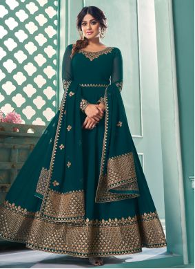 Shamita Shetty Embroidered Teal Faux Georgette Floor Length Anarkali Suit