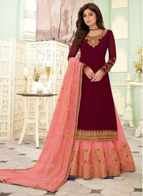 Shamita Shetty Faux Georgette Embroidered Designer Salwar Suit